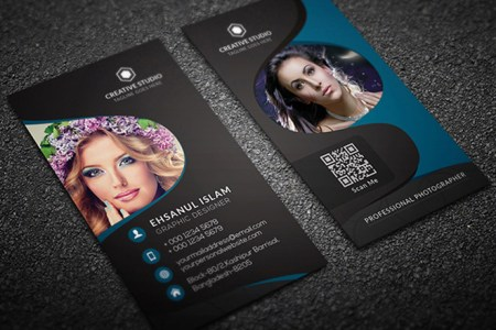 Free Vertical Photography Business Card Template   Free Download     Free Vertical Photography Business Card Template