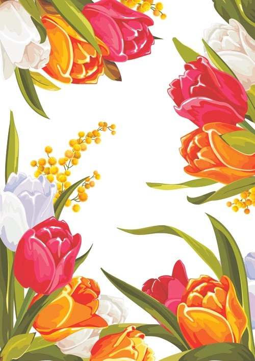 Colored beautiful flowers design graphics free download