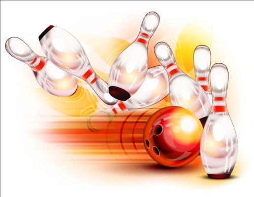 Creative bowling vector background 05 free download