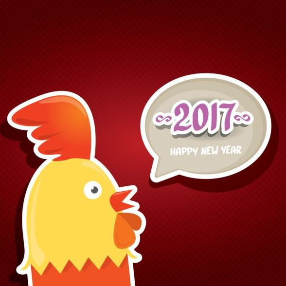 New year 2017 speech bubbles with funny rooster vector 05 free download New year 2017 speech bubbles with funny rooster vector 05