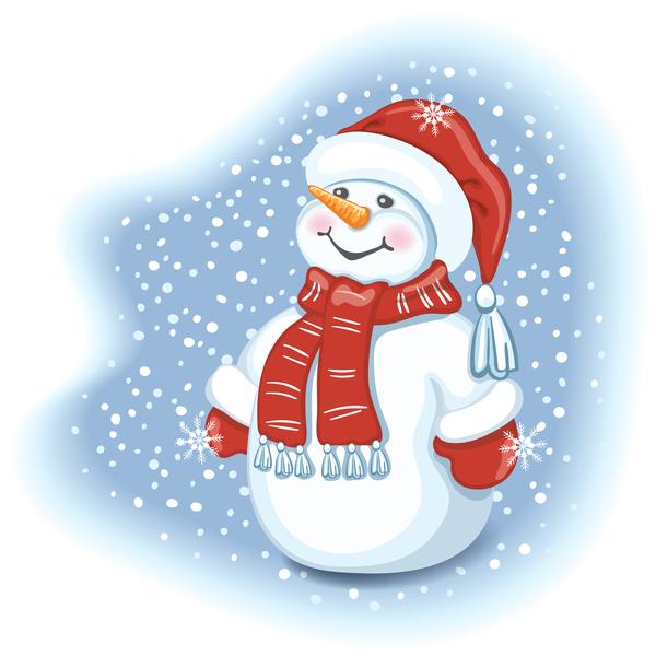 Cute christmas snowman vector design 02 free download