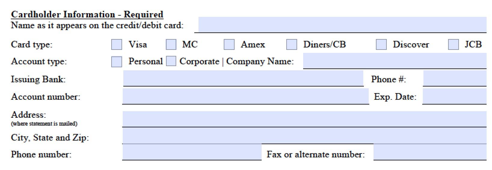 Card Form Credit Marriott Authorization