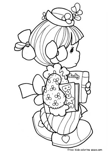 Precious moments girl goes school coloring pages free, easter bunny coloring pages