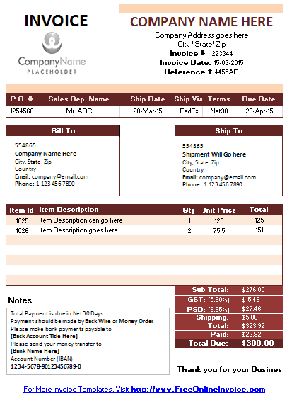 Business Invoice Template With Net 30 Days Payment Terms