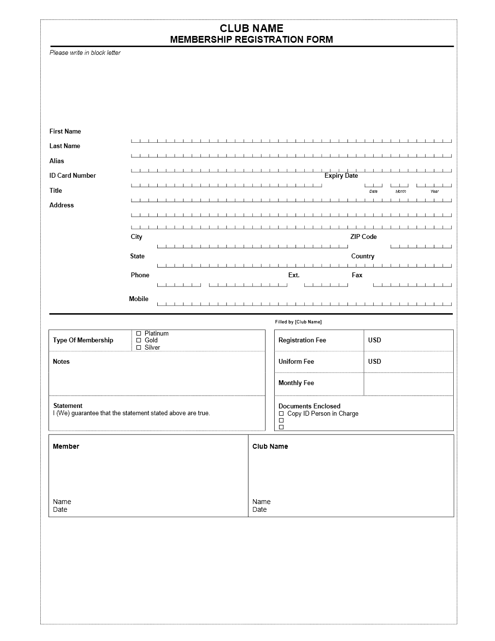 membership registration form Archives | Freewordtemplates.net