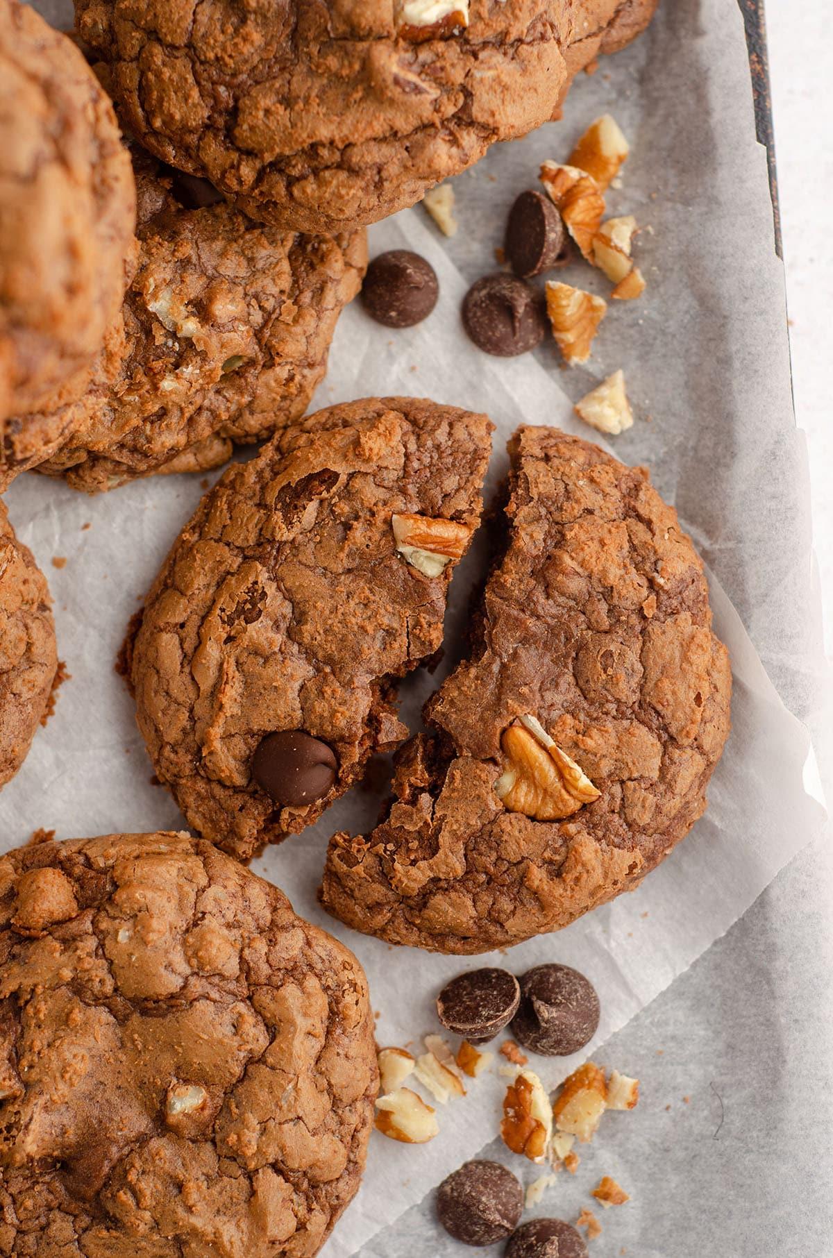 aerial photo of brownie cookie broken in half