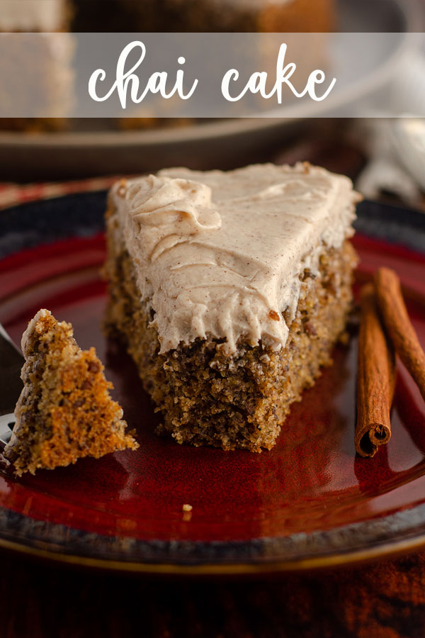 This tender chai cake is spiced with chai-infused milk, extra spices, and topped off with a spiced cream cheese frosting.