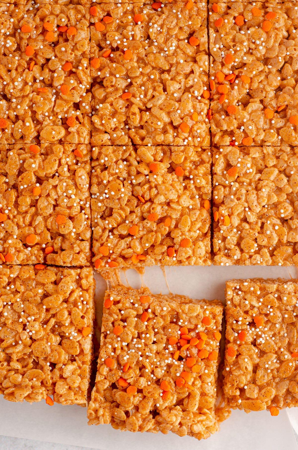 sliced pumpkin rice krispies treats