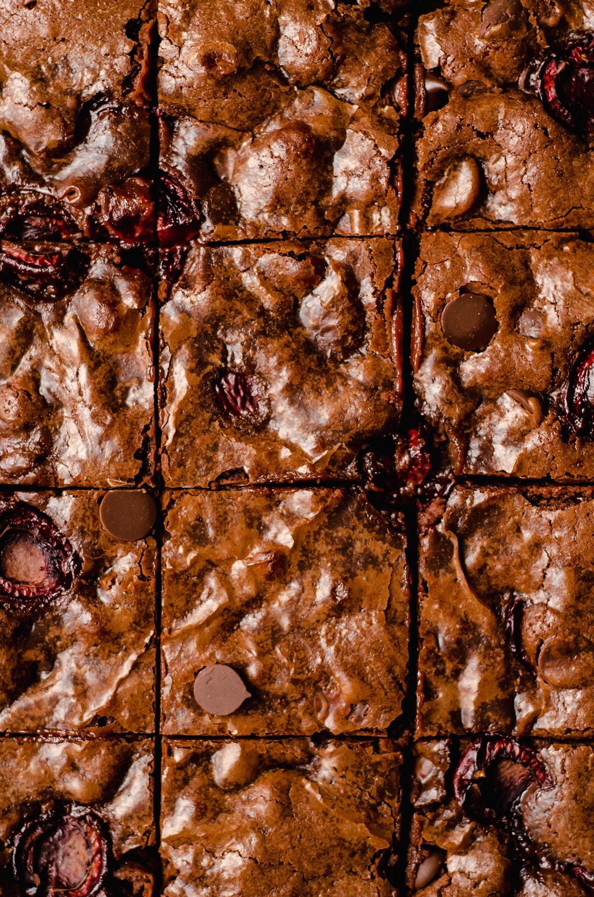 aerial photo of sliced cherry brownies