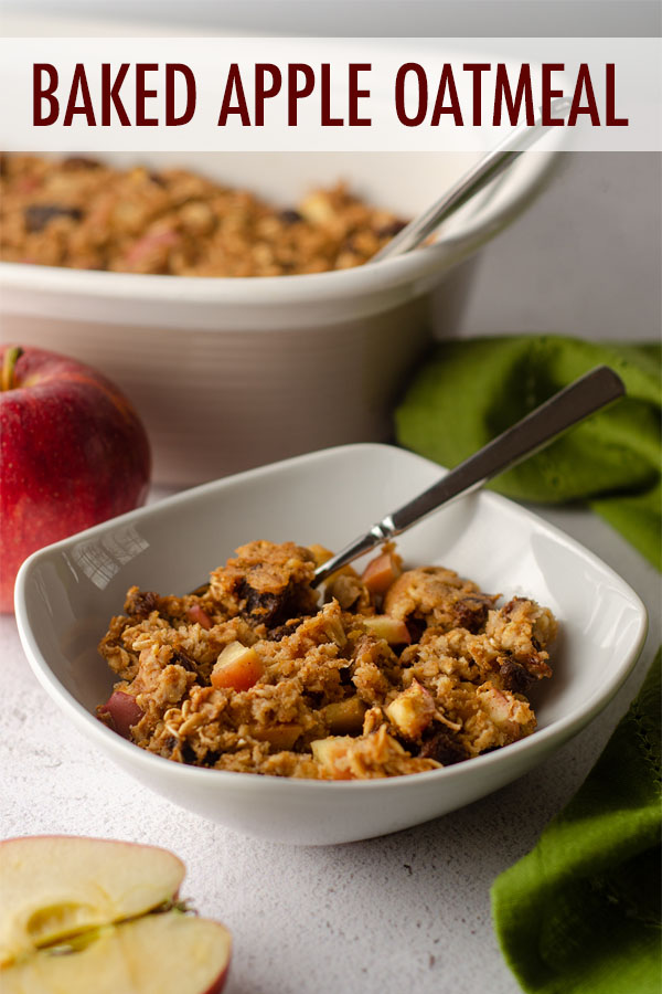 This baked apple oatmeal is quick, easy, customizable, and a total crowd pleaser. Serve it in a bowl with milk or cut it into squares for a grab-and-go breakfast. Instructions included for individual baked apple oatmeal cups.