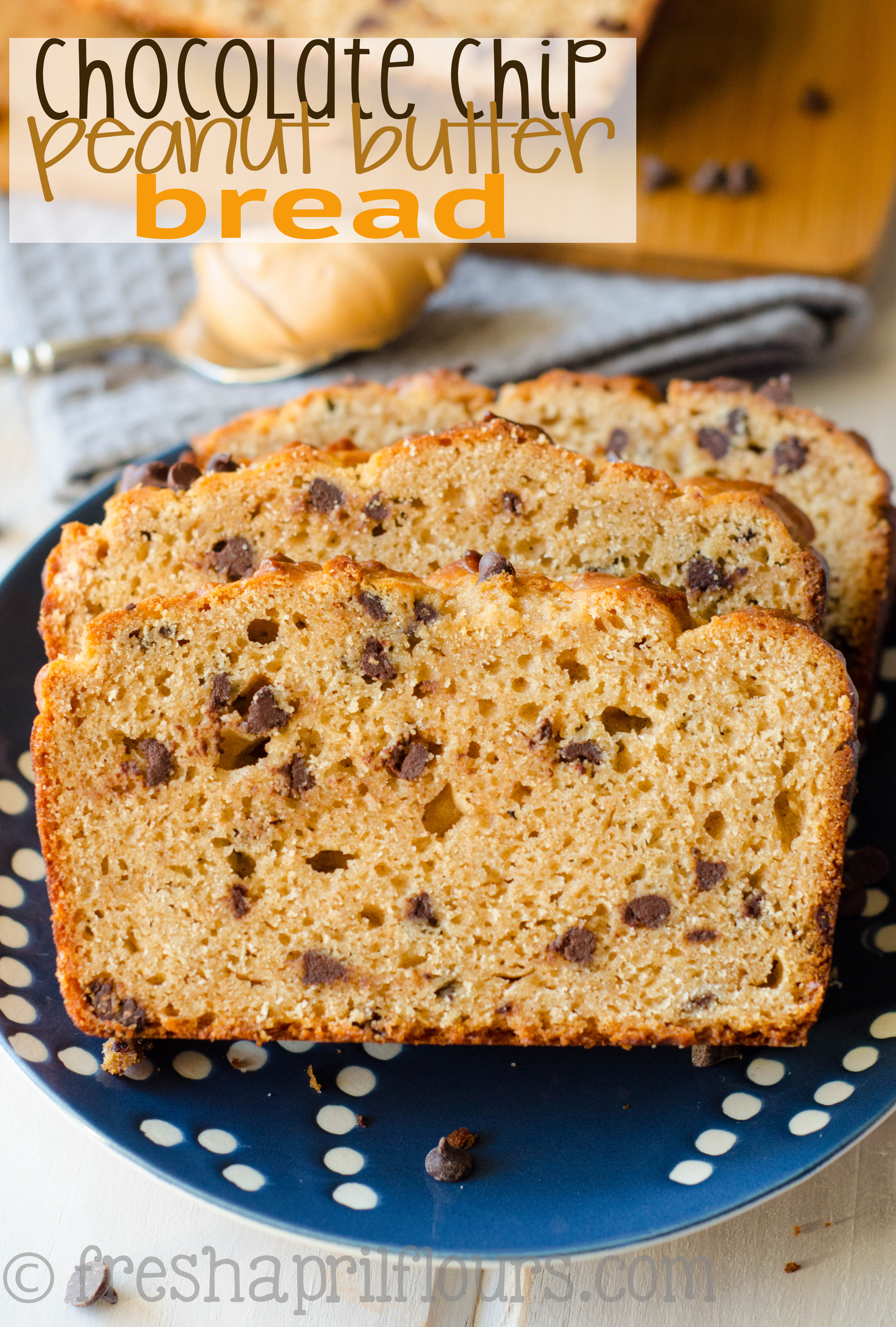 Chocolate Peanut Butter Bread: A crunchy exterior gives way to a moist and flavorful quick bread loaded with peanut butter and dotted with chocolate chips.