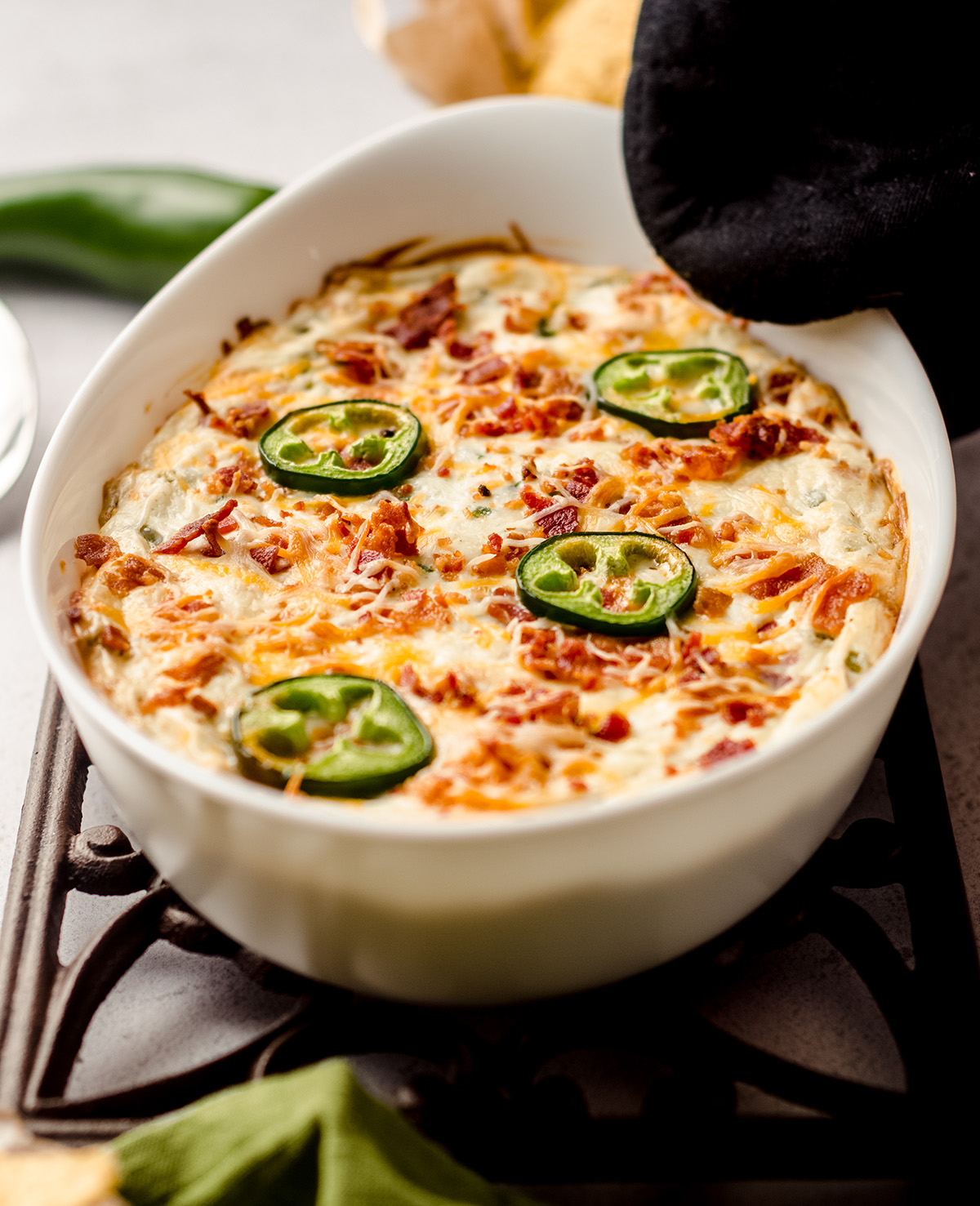 jalapeno cream cheese dip in a casserole dish
