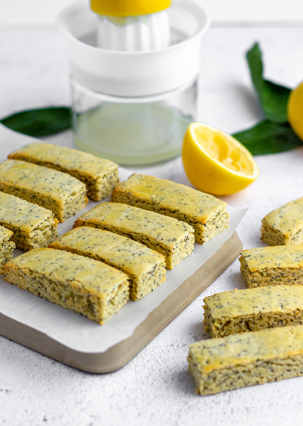 lemon poppy seed biscotti on a platter