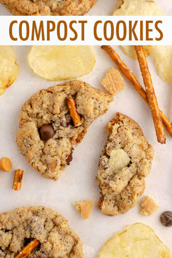 Crispy, buttery cookies filled with butterscotch and chocolate chips, graham crackers, oats, coffee grounds, pretzels, and potato chips. The perfect cookie for indecisive dessert lovers!