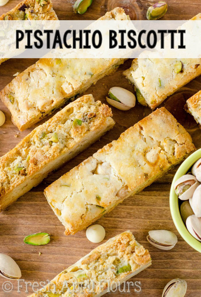 Crunchy biscotti dotted with salty pistachios and sweet, creamy white chocolate chips.