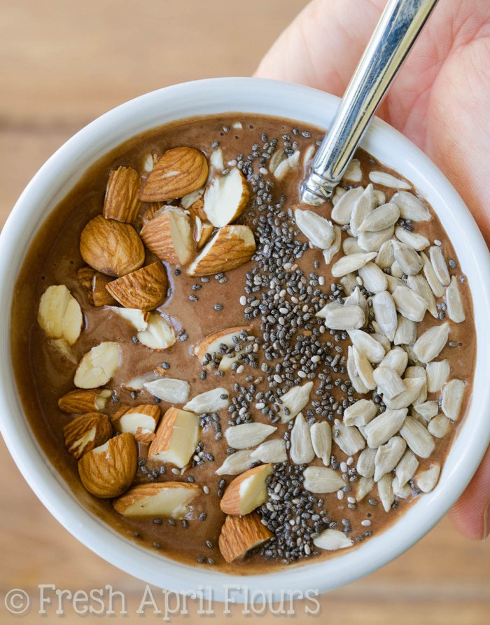 Chocolate Peanut Butter Smoothie Bowl: Thick and creamy smoothie bowl that makes you feel like you're eating a bowl of chocolate ice cream! Add any of your favorite toppings.