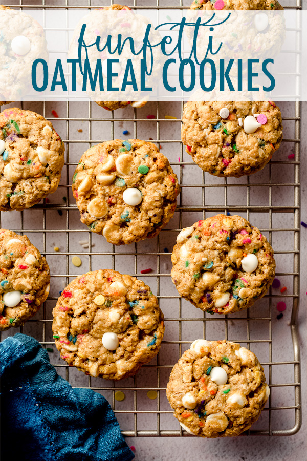 Soft and chewy oatmeal cookies filled with white chocolate chips and plenty of sprinkles for celebrating any occasion!