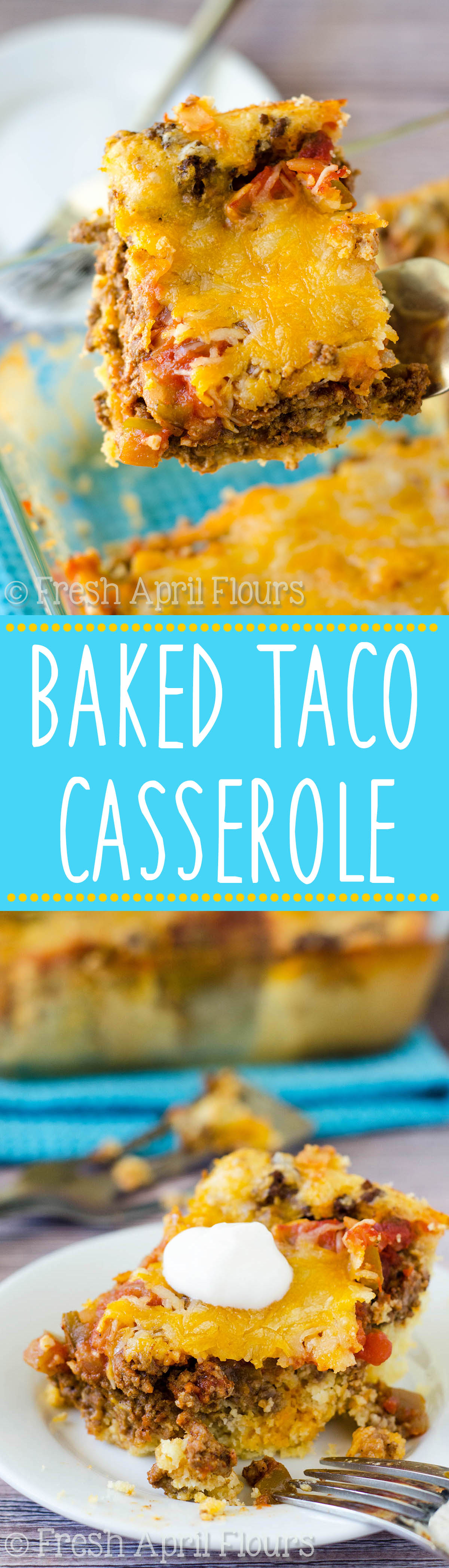 An easy casserole layered with quick cornbread, seasoned meat, salsa, and cheese. Perfect for a quick weeknight meal and makes great leftovers!