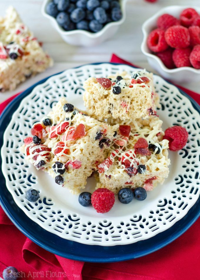 Red, White, & Blue Rice Krispies Treats: A patriotic twist on the classic featuring dried fruit and white chocolate-- use blueberries, strawberries, raspberries, and/or cherries for a berry version fit for any American celebration!