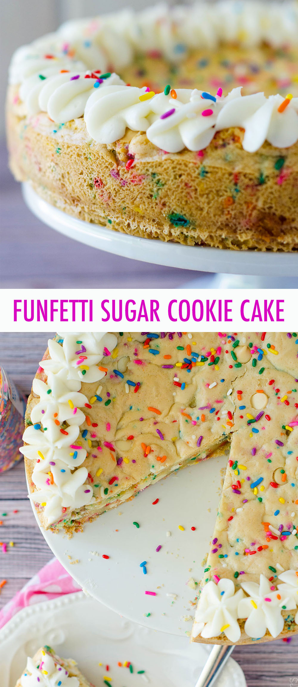 Soft and buttery in the center, crunchy around the edges, and filled with plenty of white chocolate chips and sprinkles to celebrate any occasion. Topped with a creamy and buttery almond vanilla buttercream.