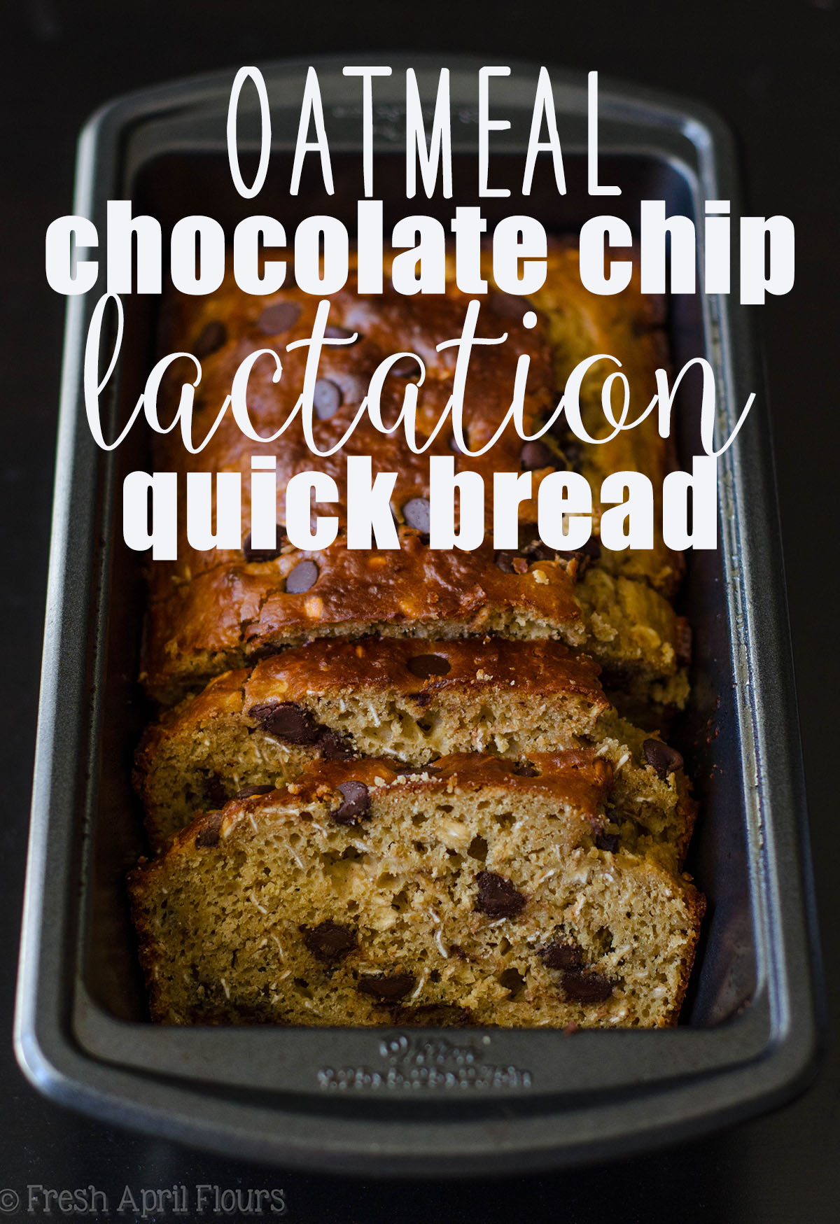 Oatmeal Chocolate Chip Lactation Quick Bread: An easy, hearty oatmeal quick bread filled with plenty of galactagogues to encourage milk production in breastfeeding mothers.