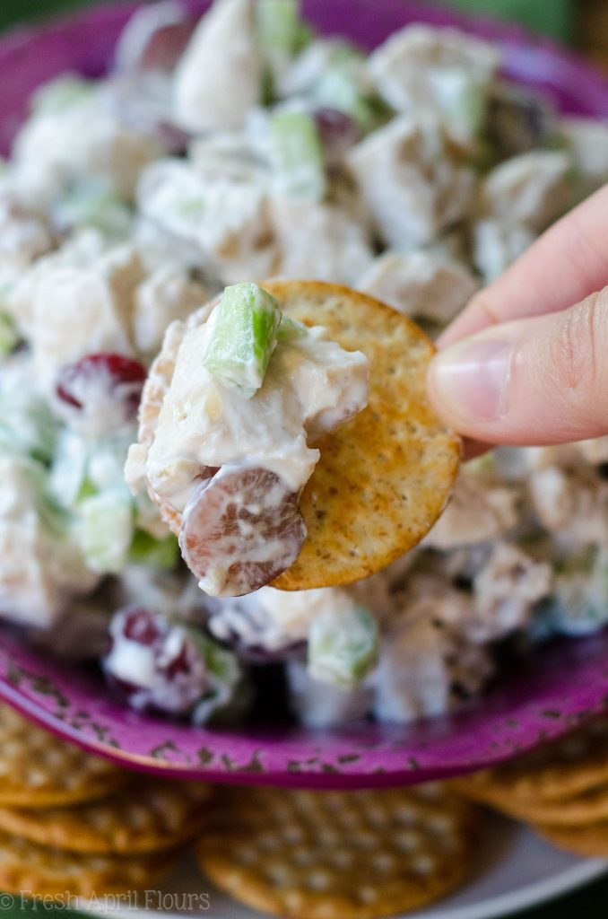 "Skinny Chicken Salad: Traditionally calorie-laden chicken salad gets a healthy upgrade using Greek yogurt and spices. Celery, grapes, and walnuts add the perfect crunch and flavors to insure you won't miss the ""real"" thing!"