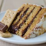 S'mores Layer Cake: Graham cracker cake layered with creamy chocolate ganache, covered in toasted marshmallow buttercream.