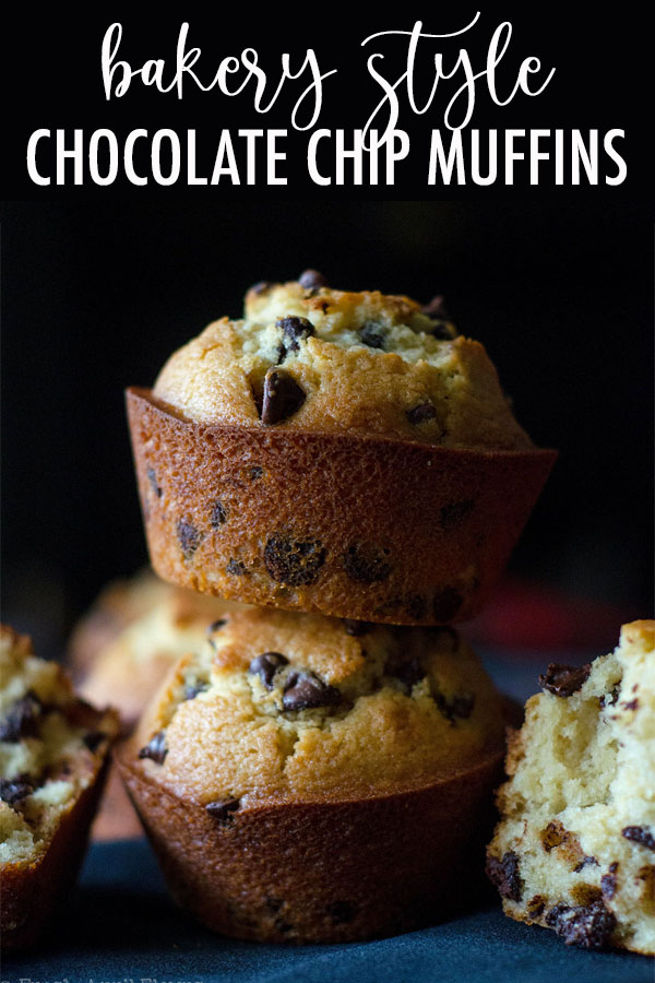 Jumbo size buttery muffins stuffed with enough chocolate chips to rival your favorite bakery!