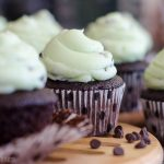 Mint Chocolate Chip Cupcakes: Dark chocolate chocolate chip cupcakes topped with creamy mint chocolate chip buttercream.