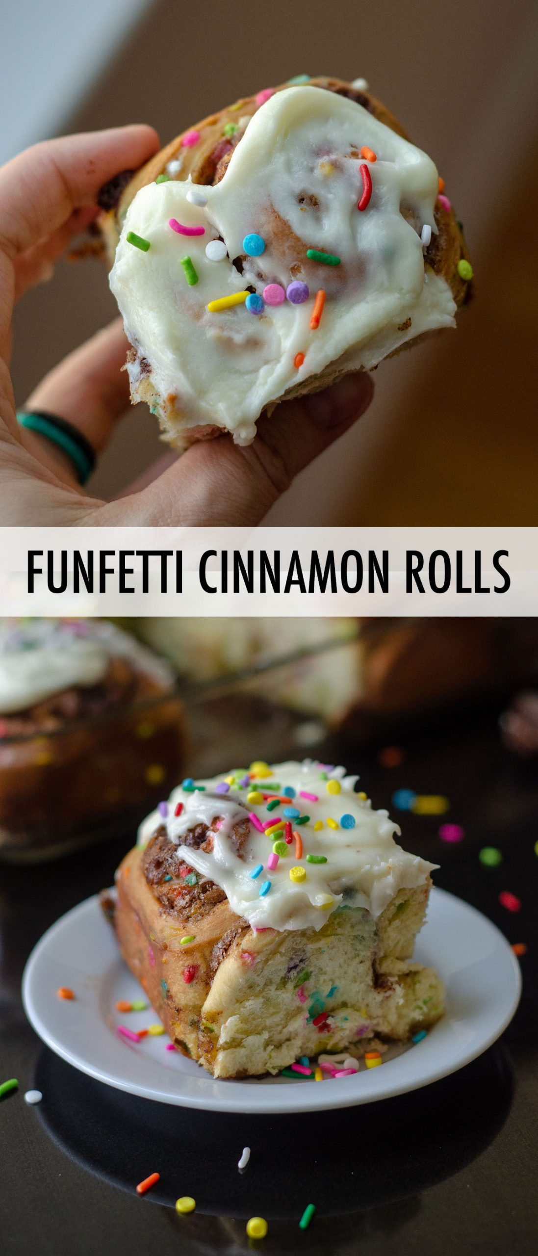 Simple yeast rolls filled with sweet and gooey cinnamon and studded with sprinkles. Spread with easy cream cheese frosting for an indulgent breakfast or treat!