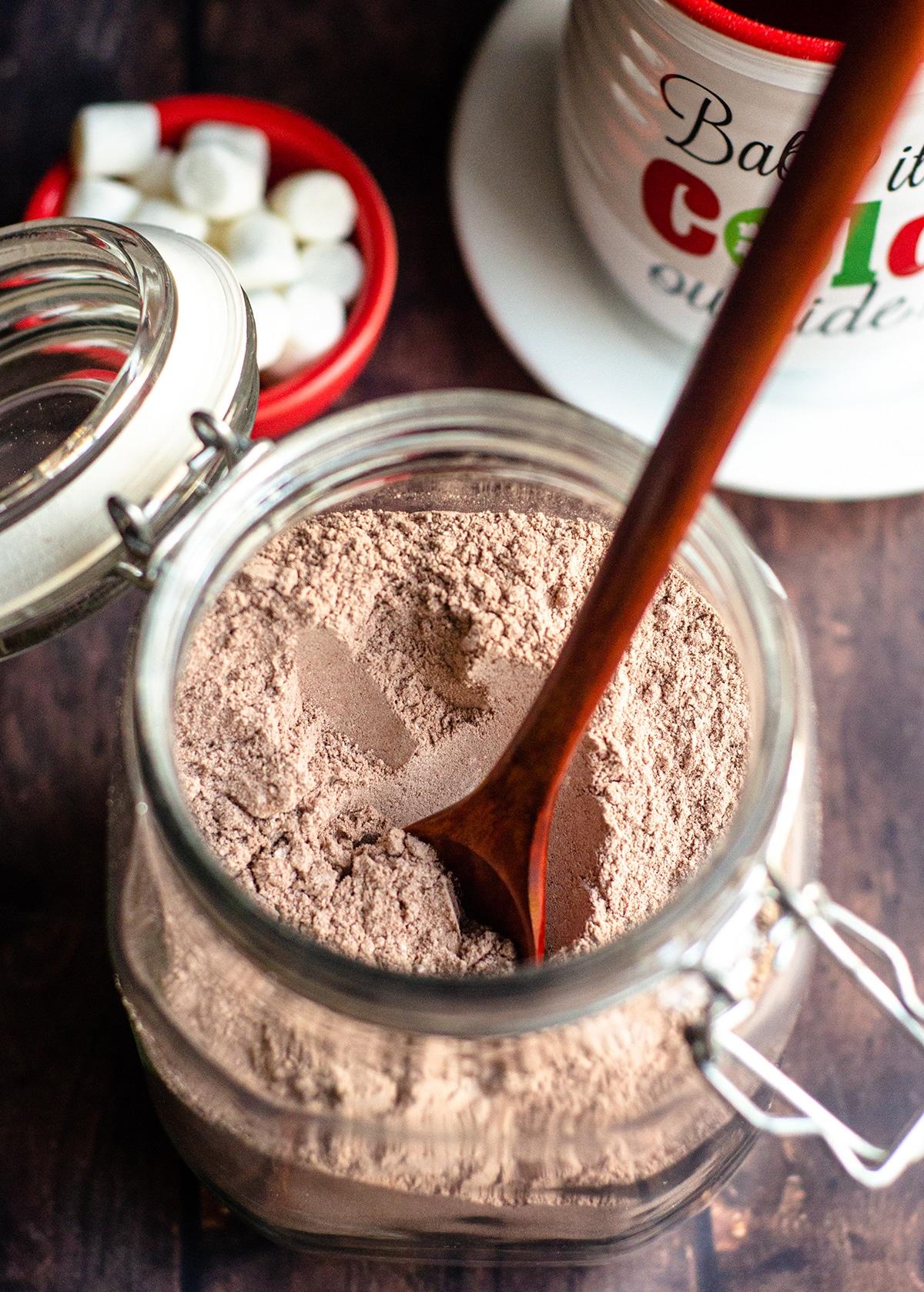 jar of homemade hot cocoa mix