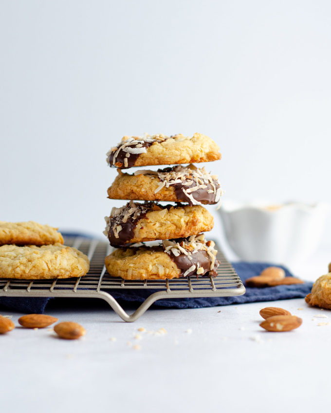 stack of coconut almond cookies