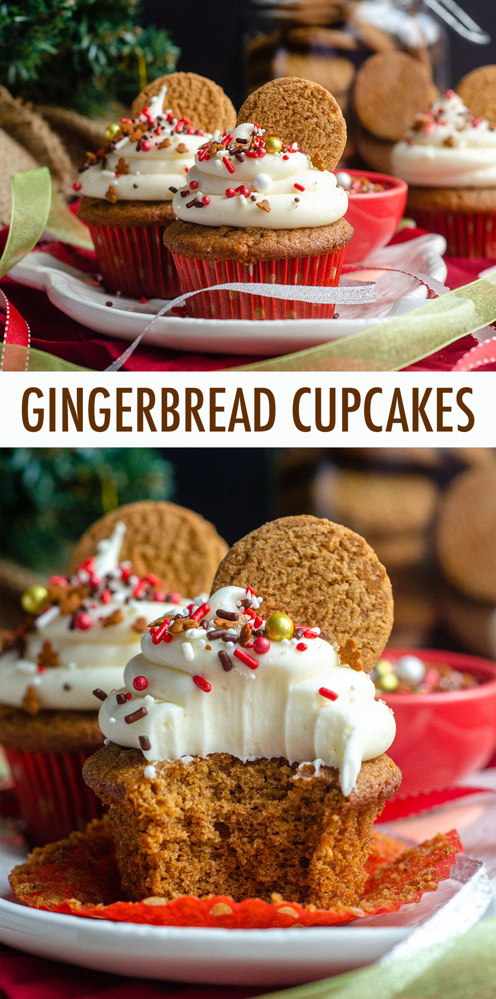 Sweet and spicy cupcakes full of all of your favorite gingerbread flavors and topped with a tangy cream cheese frosting.