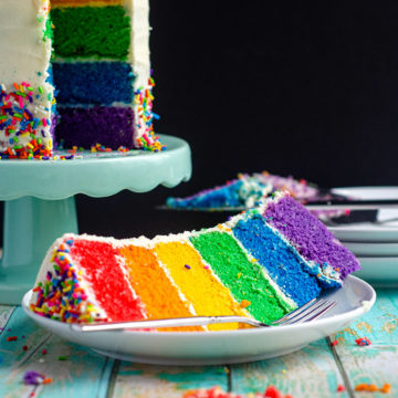 How To Make A Rainbow Cake: Learn how to make this show-stopping cake AND learn how to scale it to your needs. It's easier than you think but makes an incredible conversation piece!