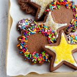 Chocolate Cut-Out Sugar Cookies: Soft chocolate sugar cookies that require no dough chilling and are perfect for shaping with cookie cutters. Crisp edges, soft centers, and plenty of room for decorative icing and sprinkles.