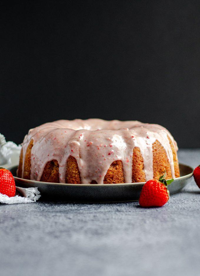 strawberry bundt cake on a plate