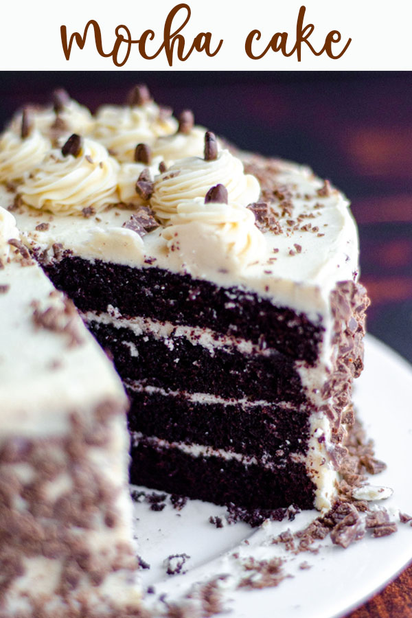 Rich chocolate cake flavored with coffee and topped with a creamy coffee buttercream.
