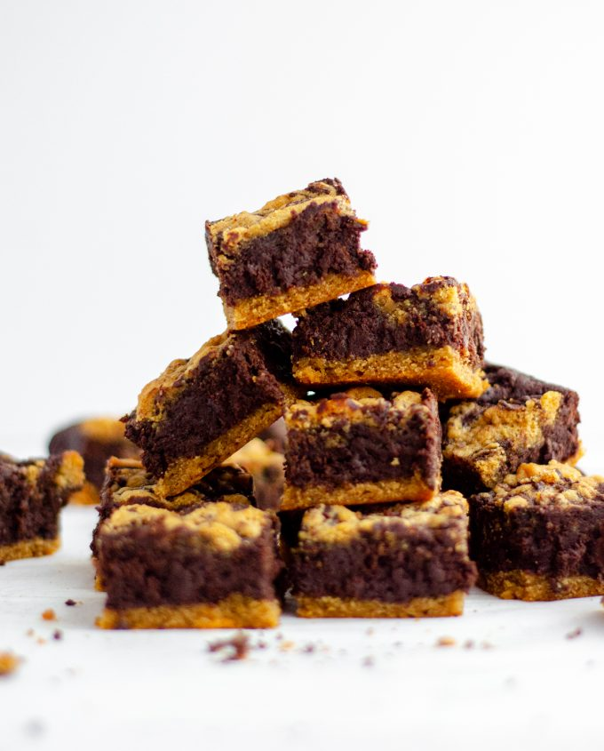 large stack of peanut butter cookie brownies
