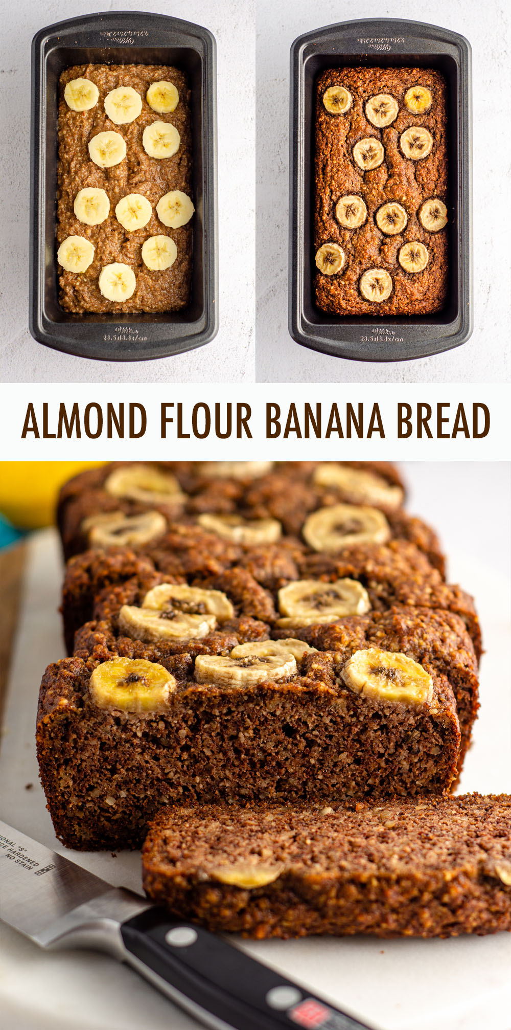 Moist and flavorful banana bread made entirely with almond flour for a naturally gluten free quick bread.