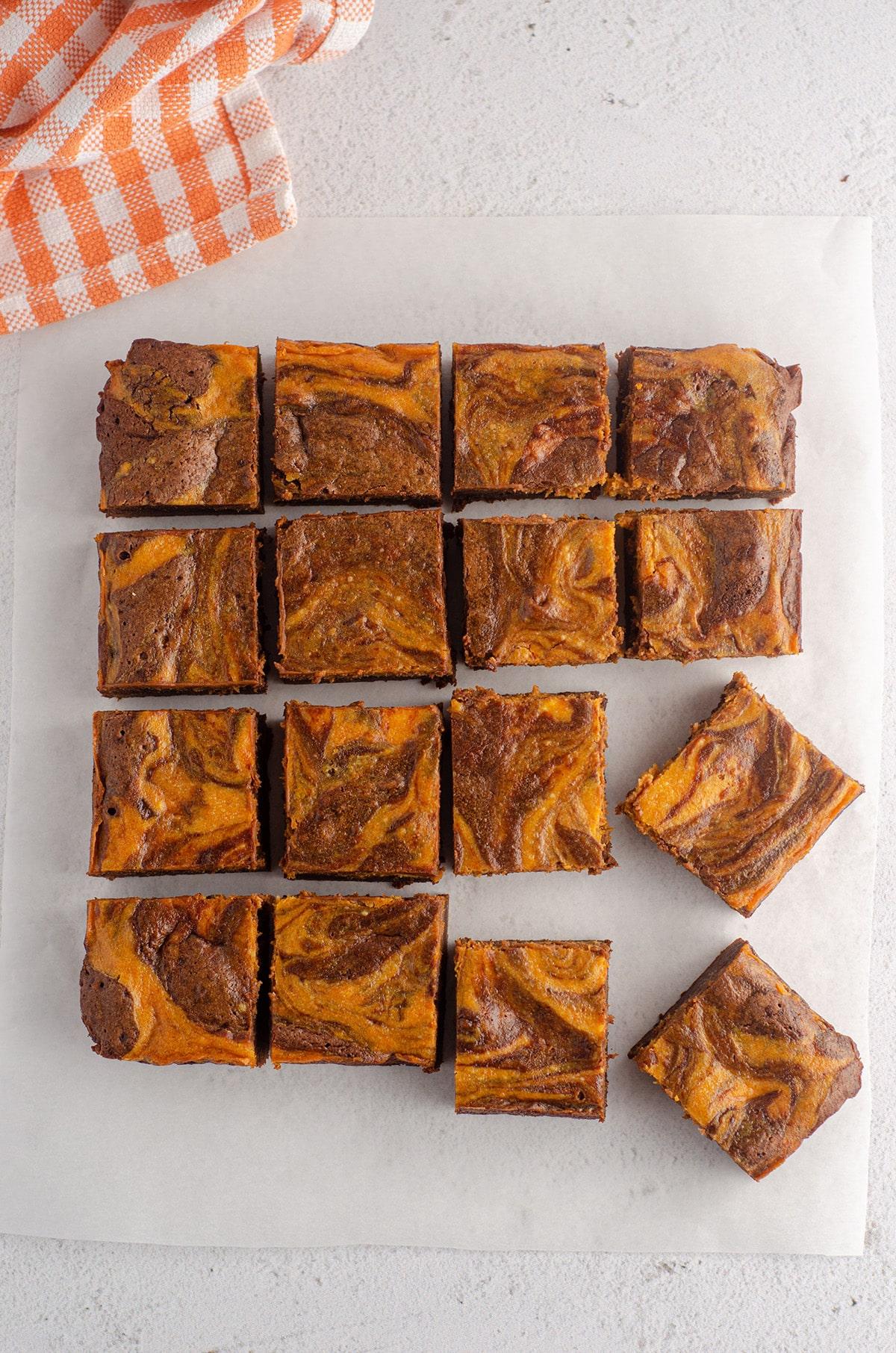 aerial photo of pumpkin cheesecake brownies
