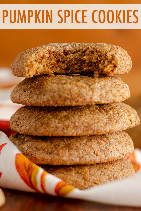 These eggless chewy pumpkin spice cookies are like a pumpkin snickerdoodle, coated in a spiced cinnamon sugar with a perfectly soft and chewy interior bursting with pumpkin flavor.