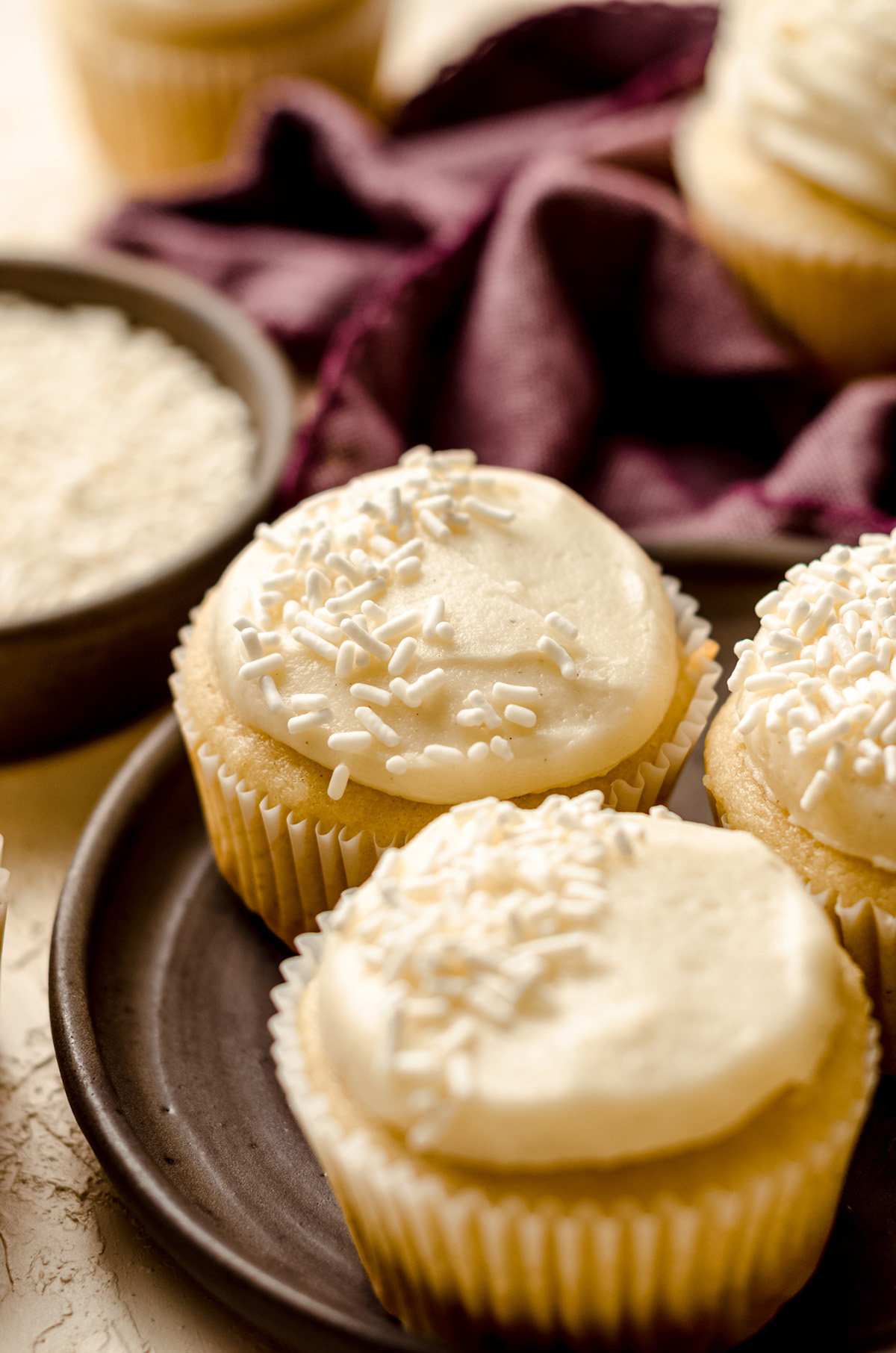vanilla bean cupcakes on a plate