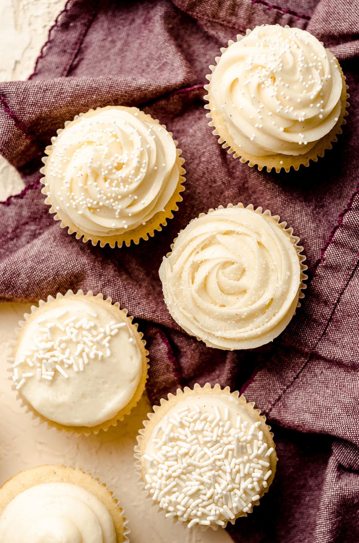 aerial photo of vanilla bean cupcakes