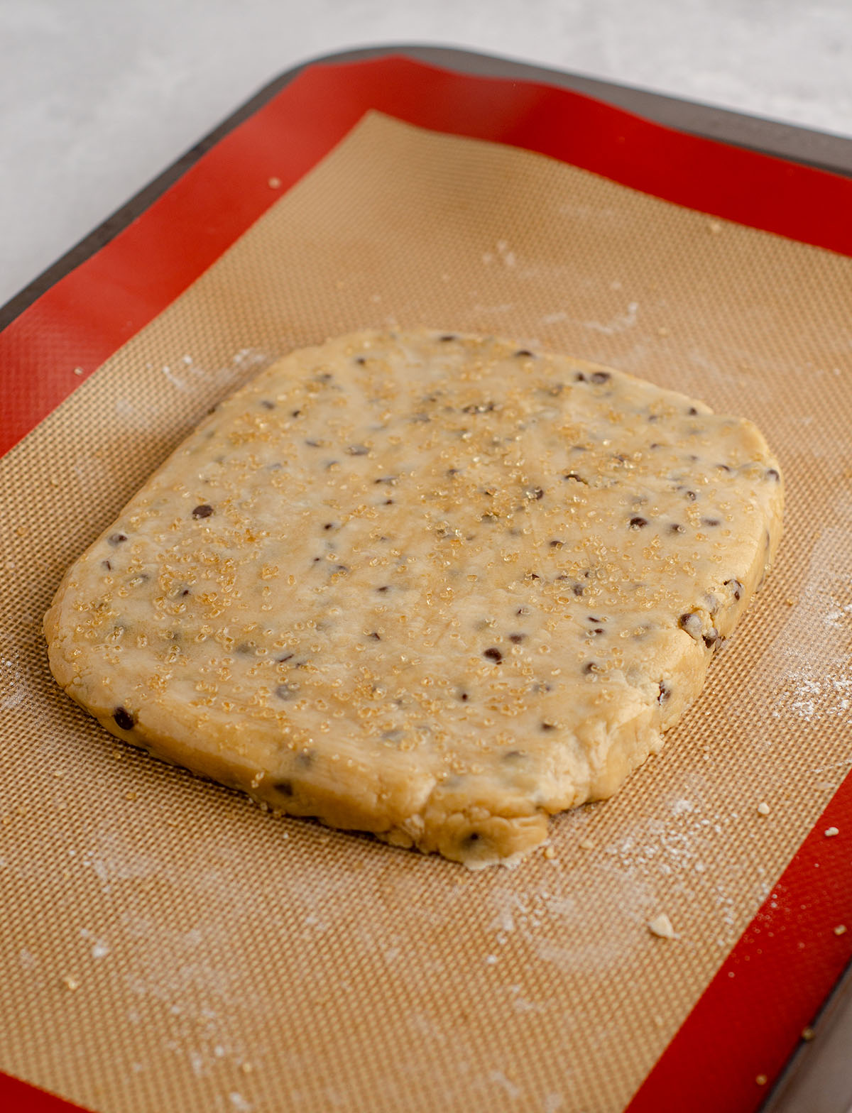 slab of chocolate chip biscotti dough ready to bake