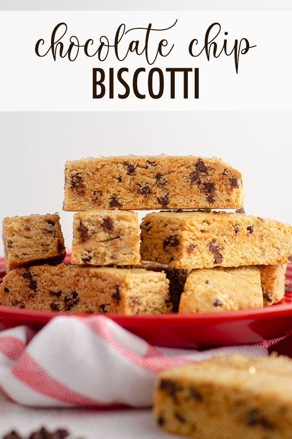 Crunchy biscotti coated with crisp coarse sugar and filled with mini chocolate chips. Perfect with your next cup of coffee or tea!