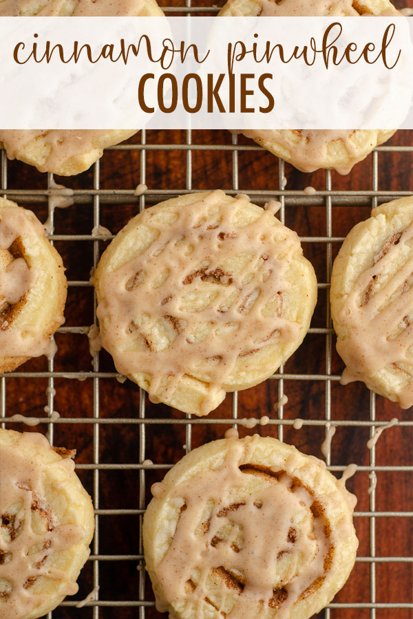 Simple sugar cookie dough filled with spicy cinnamon sugar and rolled into pinwheels. Top them off with a cinnamon icing and you've got yourself sweet and buttery cinnamon roll cookies!