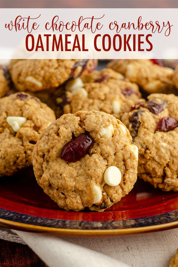 Soft and chewy oatmeal cookies fully loaded with white chocolate chips and dried cranberries.