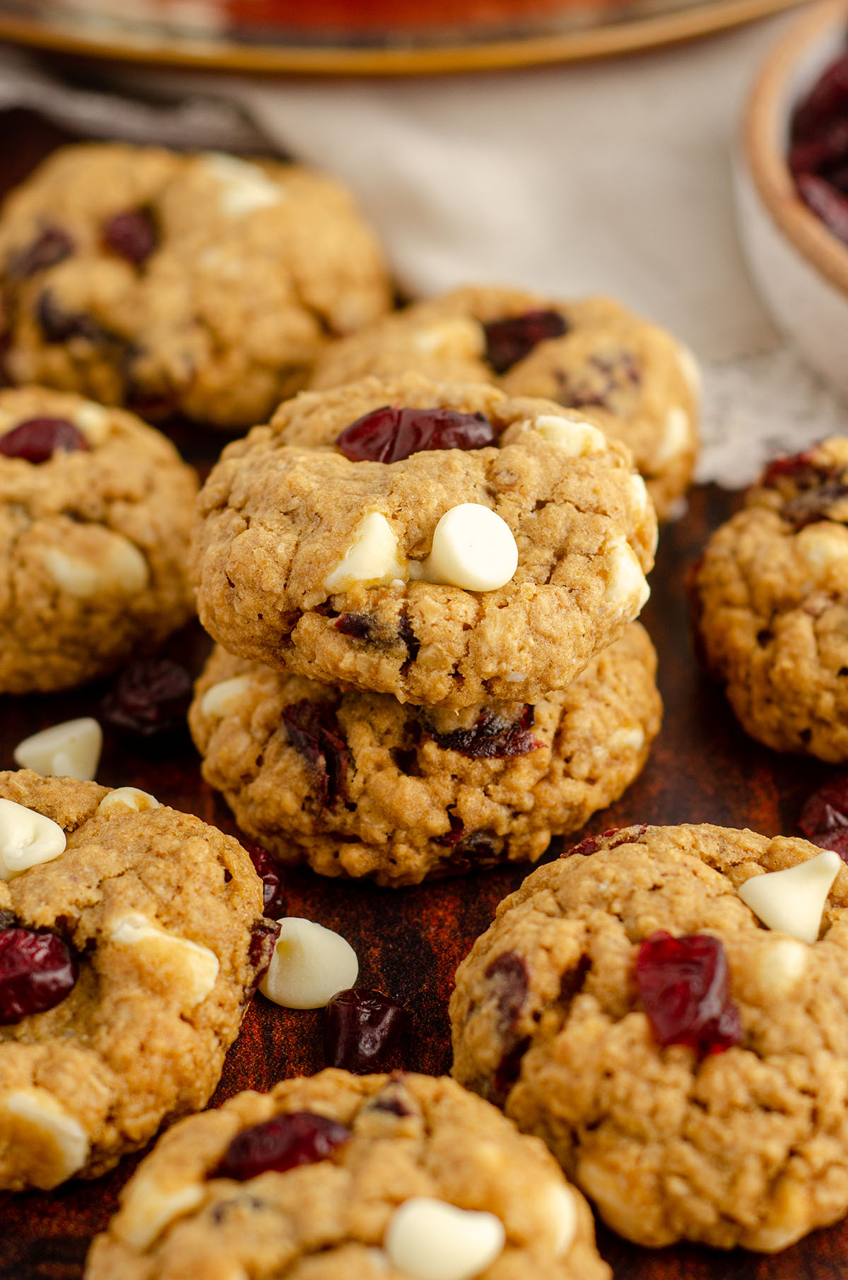 small stack of white chocolate cranberry oatmeal cookies