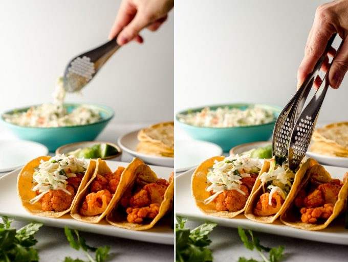 side by side photos of buffalo cauliflower tacos on a platter-- a hand is grabbing cilantro slaw with metal tongs from a bowl in one photo and placing a portion of the slaw on a taco in the next photo