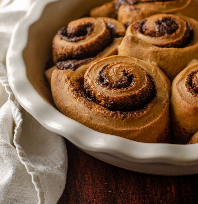 coffee cinnamon rolls baked and ready to frost